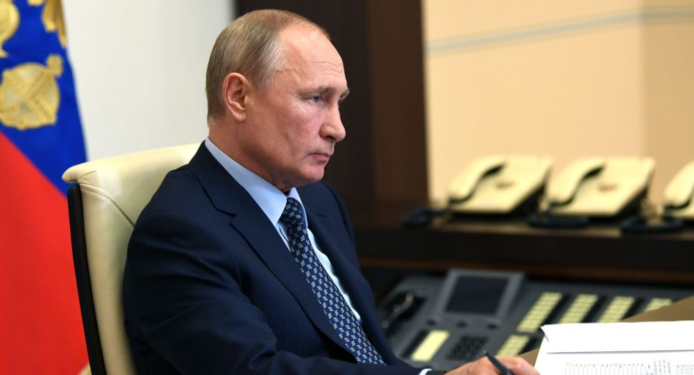 Россиянын Президенти Владимир Путин видеоконференция аркылуу жолугушуну өткөргөн учурда. 22 май 2020-жыл.
