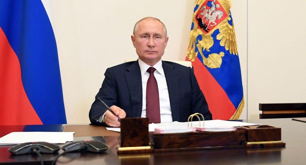 Россиянын Президенти Владимир Путин видеоконференция жыйынында.