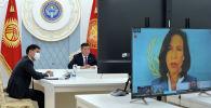 Президент Кыргызской Республики Сооронбай Жээнбеков на международном форуме Мероприятие высокого уровня по финансированию развития в эпоху коронавируса и после него в формате видеоконференции. 28 мая 2020 года