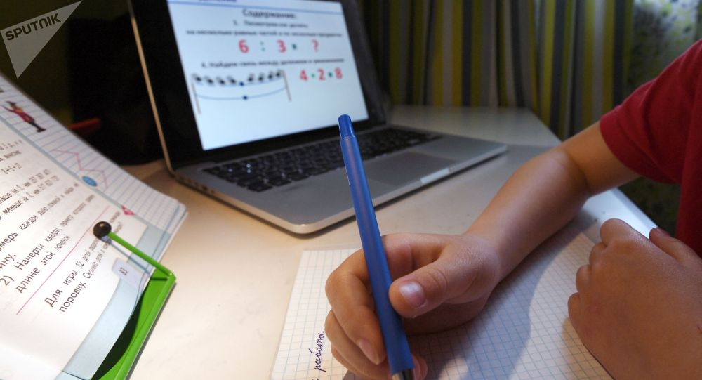 Ученица во время дистанционного урока. Архивное фото