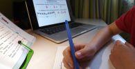Ученица гимназии на удалённом занятии по математике у себя дома. Архивное фото