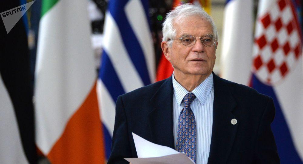 Верховный представитель Евросоюза по иностранным делам и политике безопасности Жозеп Боррель на саммите глав государств и правительств Евросоюза в Брюсселе.