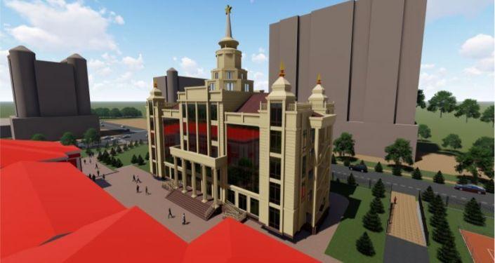 Эскиз корпуса для филиала Московского государственного университета имени Ломоносова в Оше