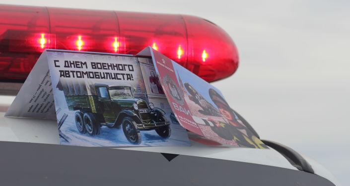 Сотрудники военной автомобильной инспекции (ВАИ) Объединенной российской военной базы в Канте провели акцию в честь Дня военного автомобилиста