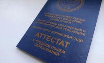 Аттестат о среднем общем образовании выпускника школы Кыргызстана. Архивное фото