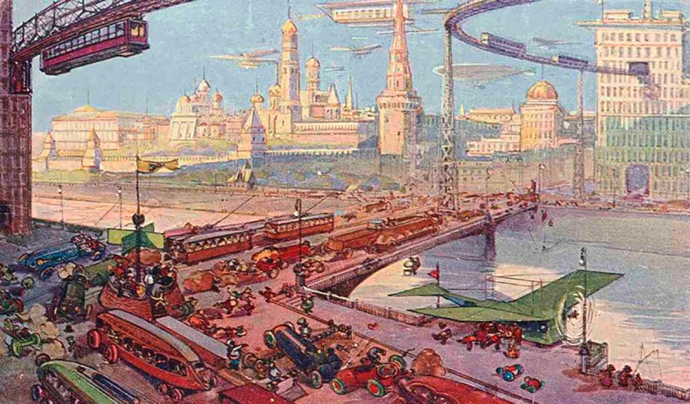 Кремль так же украшает древнюю Белокаменную и с золотыми куполами представляет феерическое зрелище. Тут же у Москворецкого моста мы видим новые огромные здания торговых предприятий, трестов, обществ, синдикатов и так далее. На фоне неба стройно скользят вагоны подвесной воздушной дороги.