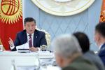 Президент Кыргызской Республики Сооронбай Жээнбеков на заседании Совета безопасности Кыргызской Республики в узком составе. 19 июня 2020 года