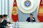 Президент Кыргызской Республики Сооронбай Жээнбеков на заседании Совета безопасности Кыргызской Республики в узком составе. Архивное фото