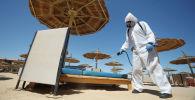 Санобработка лежаков и зонтов на пляжах в Египте