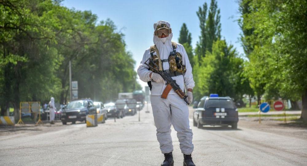 Сотрудник правоохранительных органов на санитарном посту в селе. Архивное фото