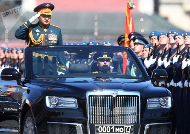 Министр обороны РФ Сергей Шойгу во время военного парада в ознаменование 75-летия Победы в Великой Отечественной войне 1941-1945 годов на Красной площади в Москве.