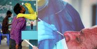 Медицинский работник берет образец мазка у мужчины в Медицинском колледже и больнице Мугда после вспышки коронавирусной болезни (COVID-19) в Дакке. Бангладеш, 23 июня 2020 года