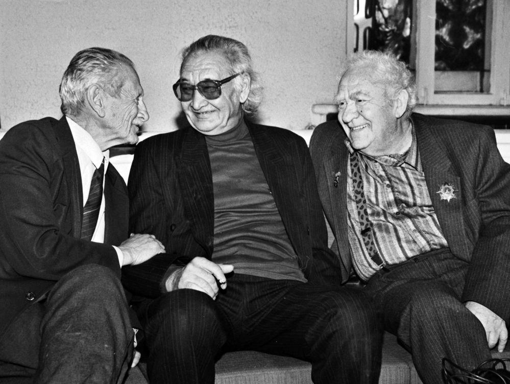 Кесиптеши Леонид Ясиновский жана архитектор Геннадий Кутателадзе менен, 1980-жылдар
