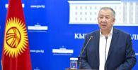 Премьер-министр КР Кубатбек Боронов во время брифинга. 02 июля 2020 года